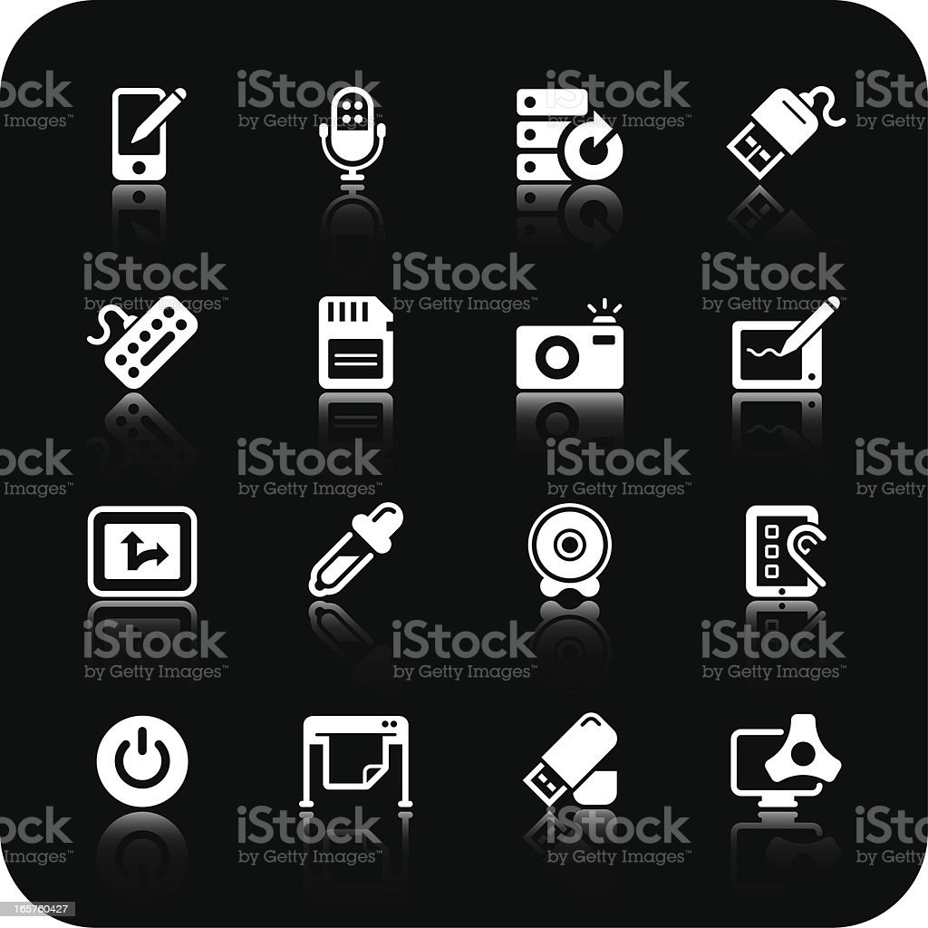 computer and peripherals icons | white series royalty-free stock vector art