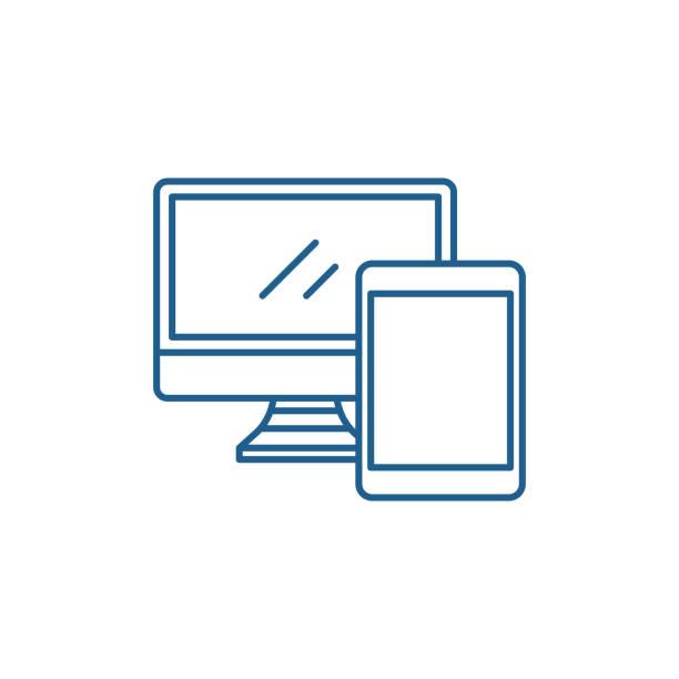 ilustrações, clipart, desenhos animados e ícones de conceito do ícone da linha do computador e da tabuleta. símbolo liso do computador e da tabuleta, sinal, ilustração do esboço. - mobile