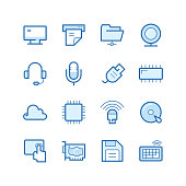 Illustration of computer and website icons on the white.