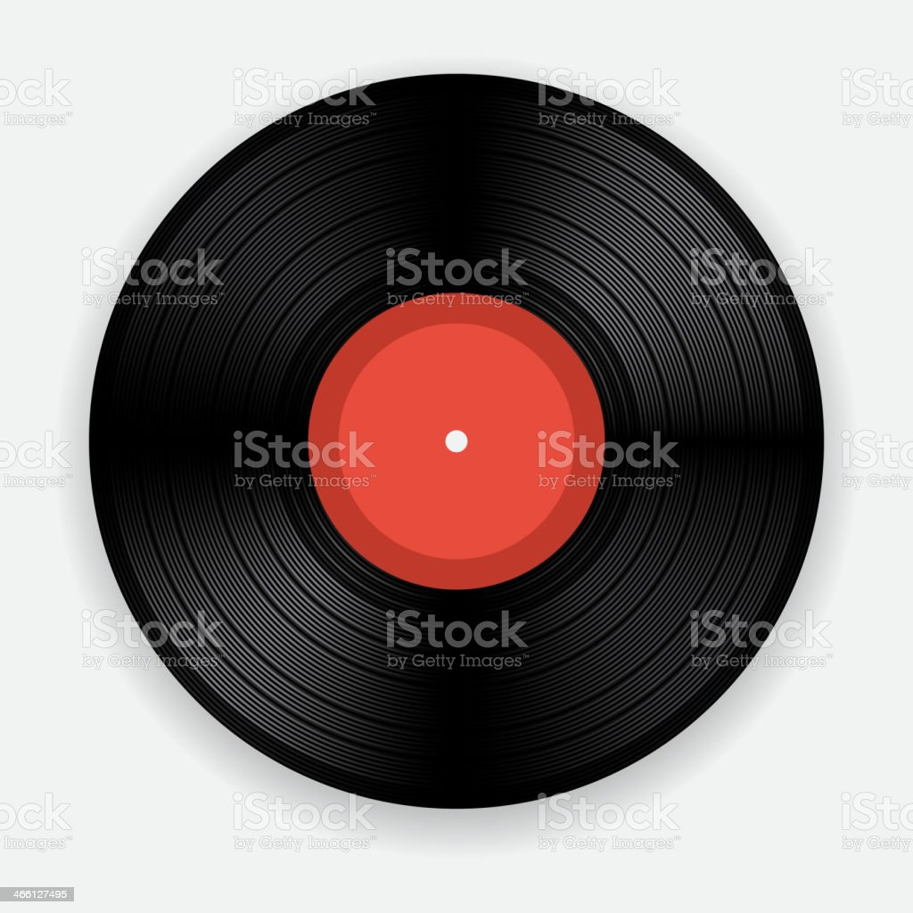 Computer animated picture of an old vinyl record vector art illustration