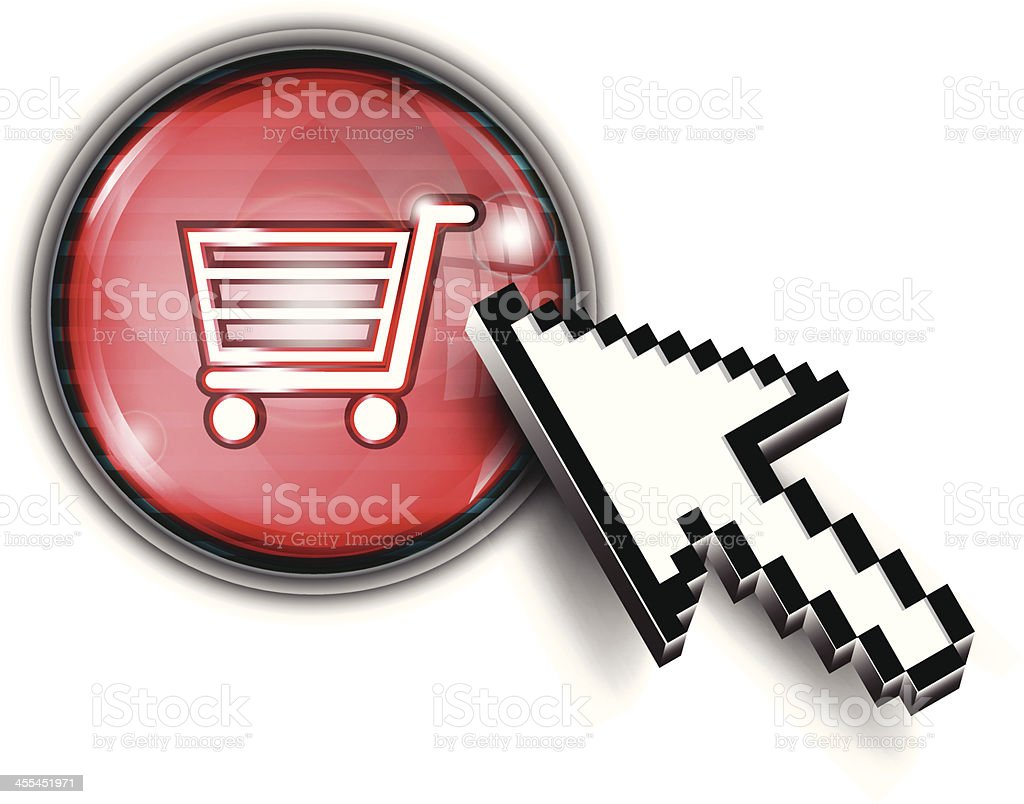 Computer Arrow Cursor on Button | Shopping Cart royalty-free stock vector art