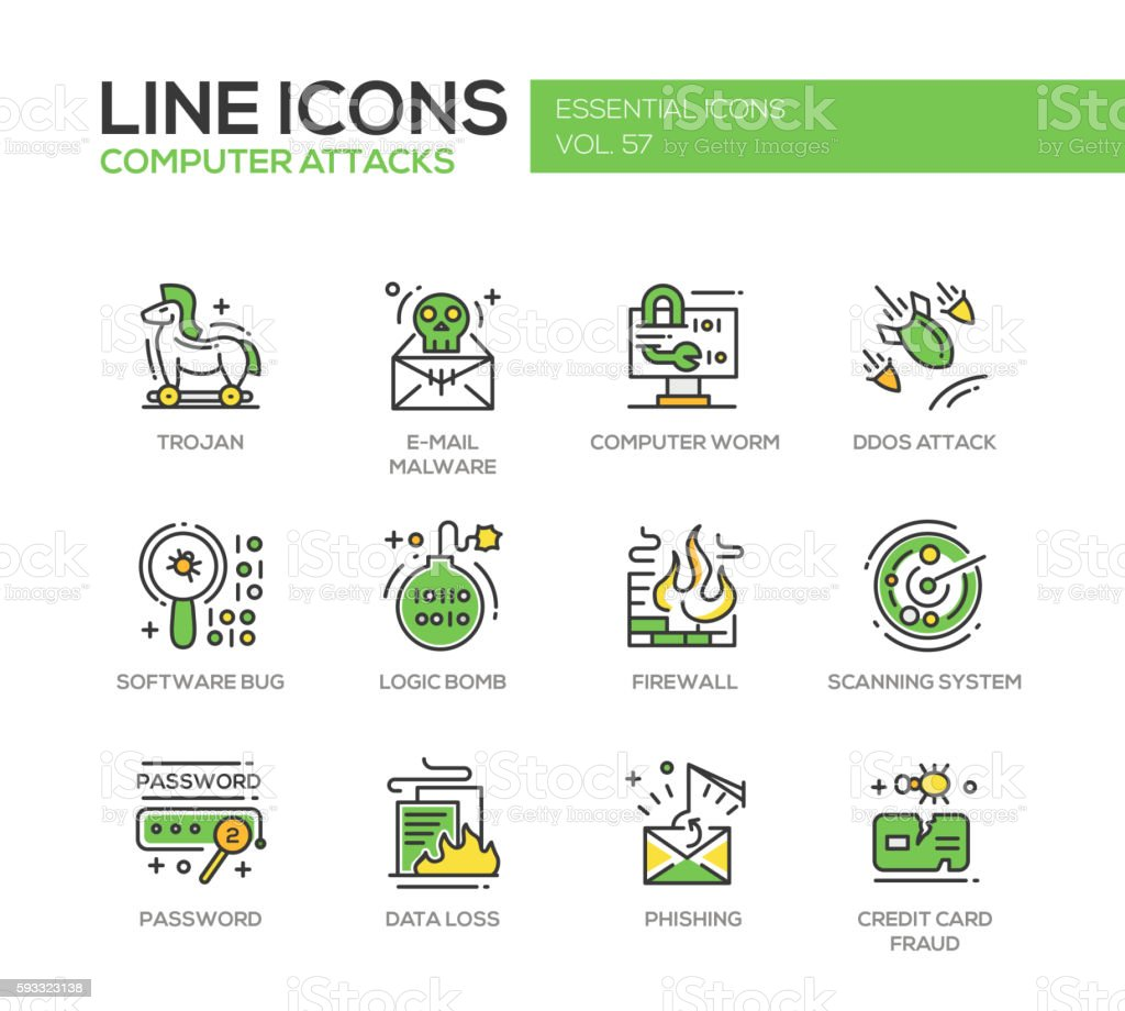 Computer Attacks - line design icons set vector art illustration