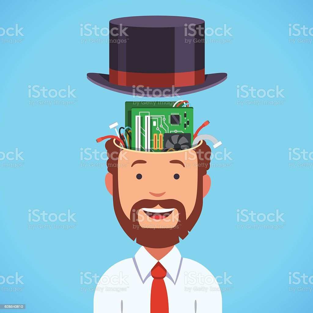 Computer brain head with motherboard and processor vector art illustration