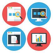 Computer Browser Technology Flat Circle Icons Set