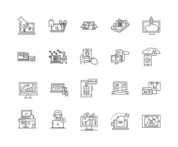 ilustrações, clipart, desenhos animados e ícones de linha ícones do negócio do computador, sinais, jogo do vetor, conceito da ilustração do esboço - mobile