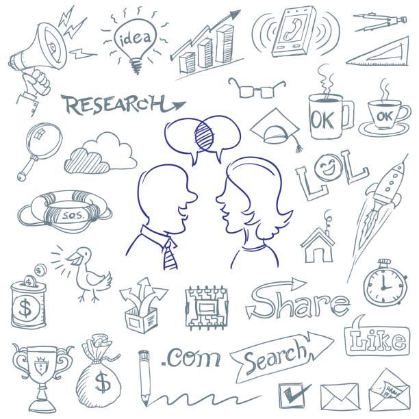computer-business-social-media-doodles - hausgemacht stock-grafiken, -clipart, -cartoons und -symbole