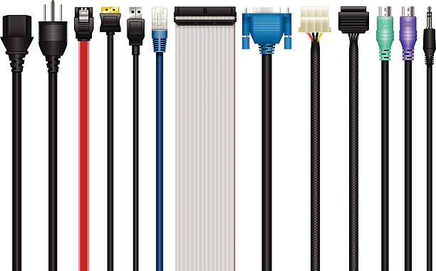 Computer Cables, Connectors, Technology vector art illustration