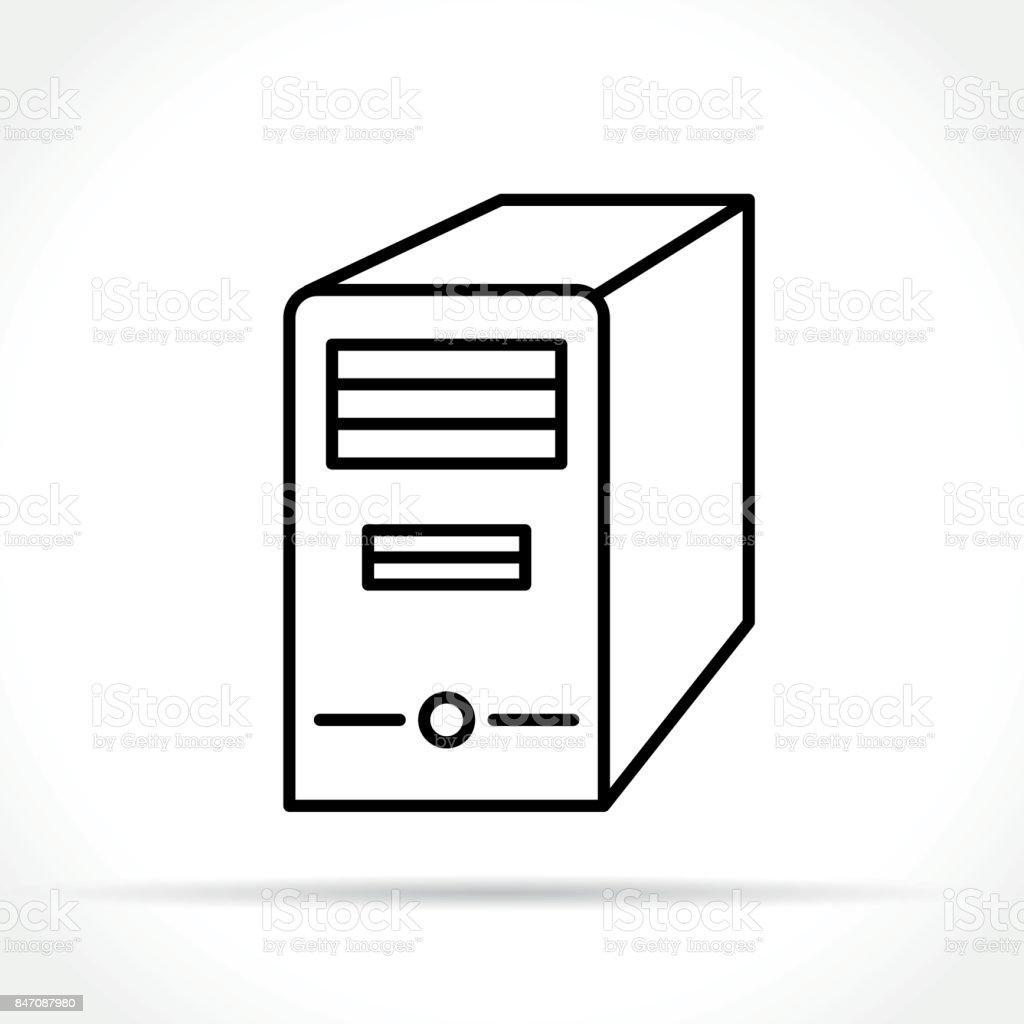computer case icon on white background vector art illustration
