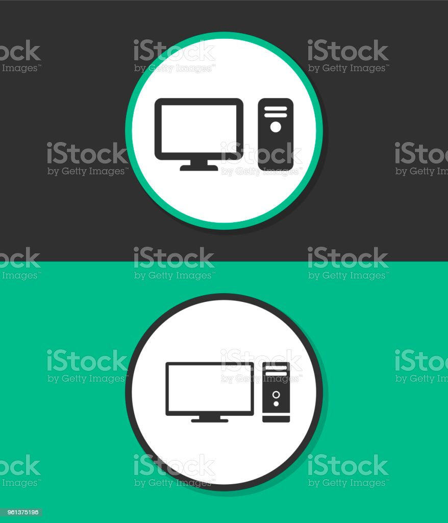 Computer Case With Monitor Keyboard And Mouse Vector Icon Stock