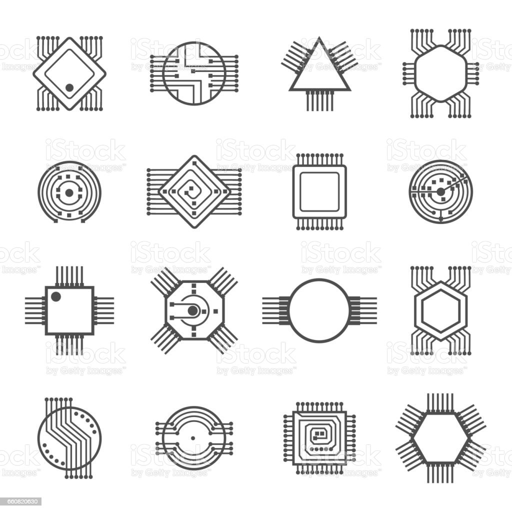 computer chip icons electronic circuit and processor signs vector illustration isolated on white
