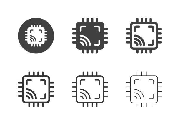 Computer Chip Icons - Multi Series vector art illustration
