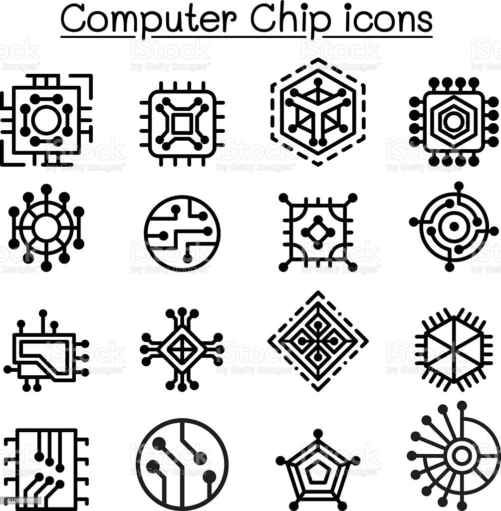 Computer Chips and Electronic Circuit icons in thin line style vector art illustration