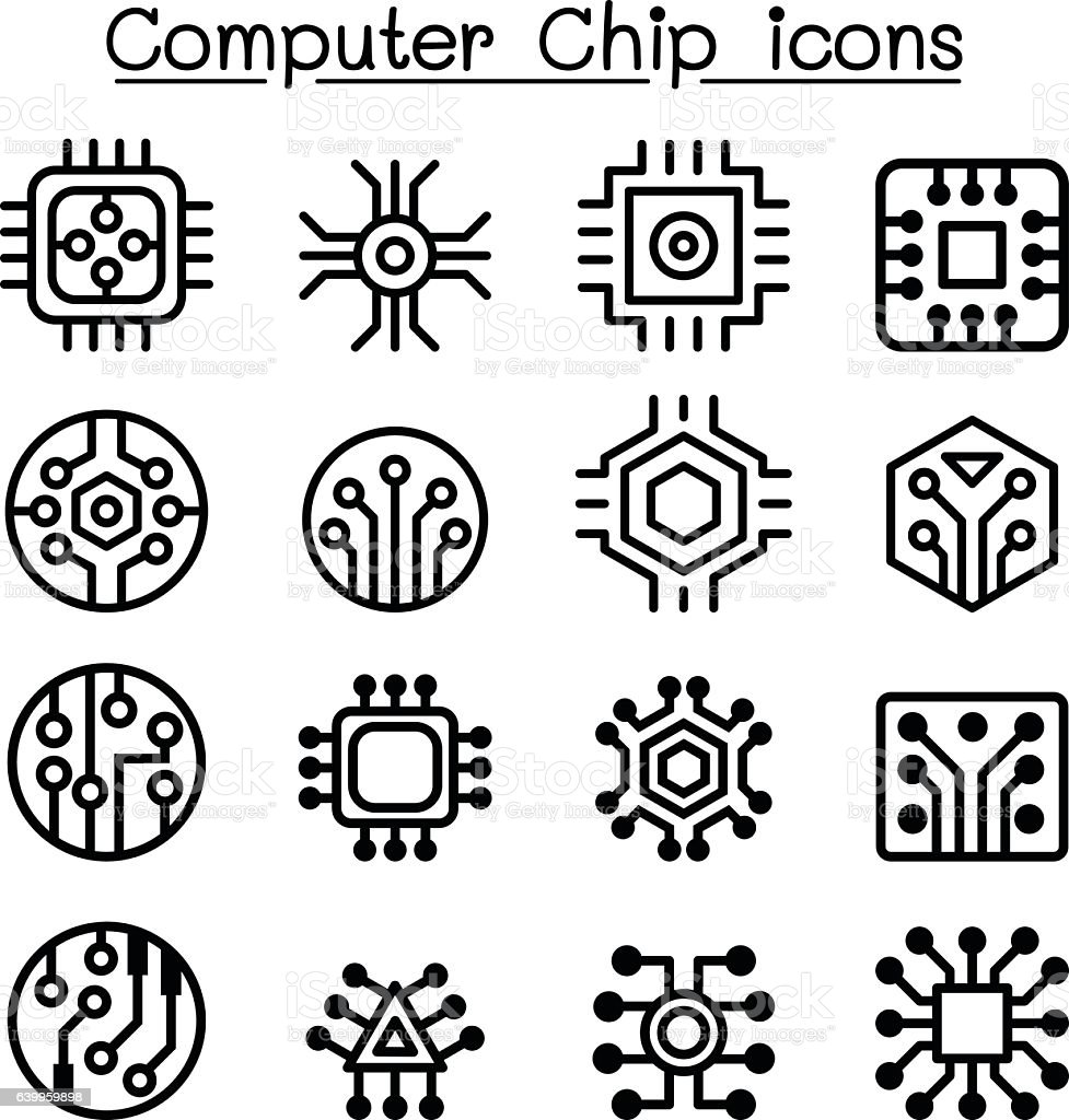 computer chips and electronic circuit icons in thin line style stock vector art  u0026 more images of