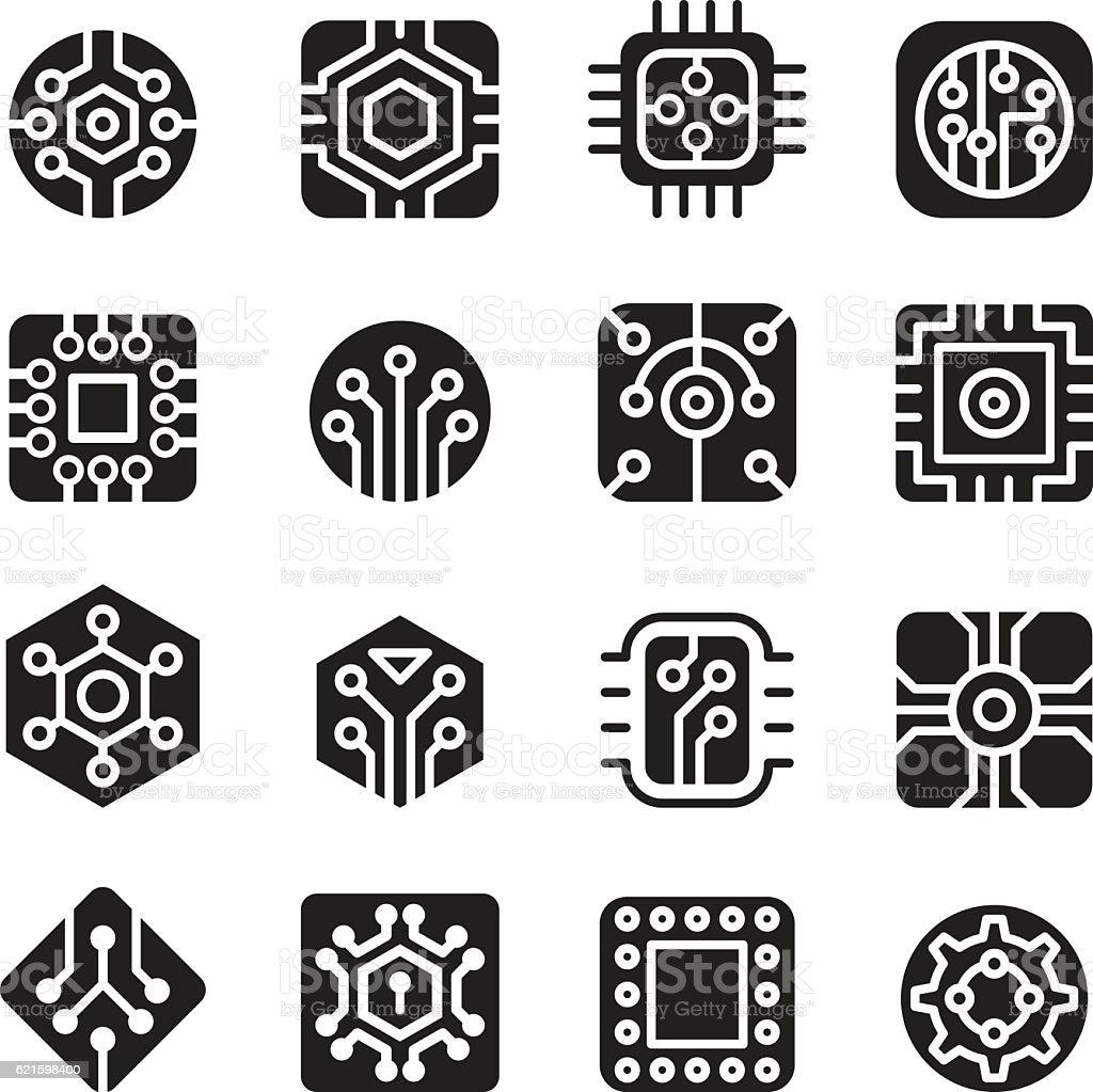 Computerchips Und Elektronische Schaltung Symbole Stock Vektor Art ...