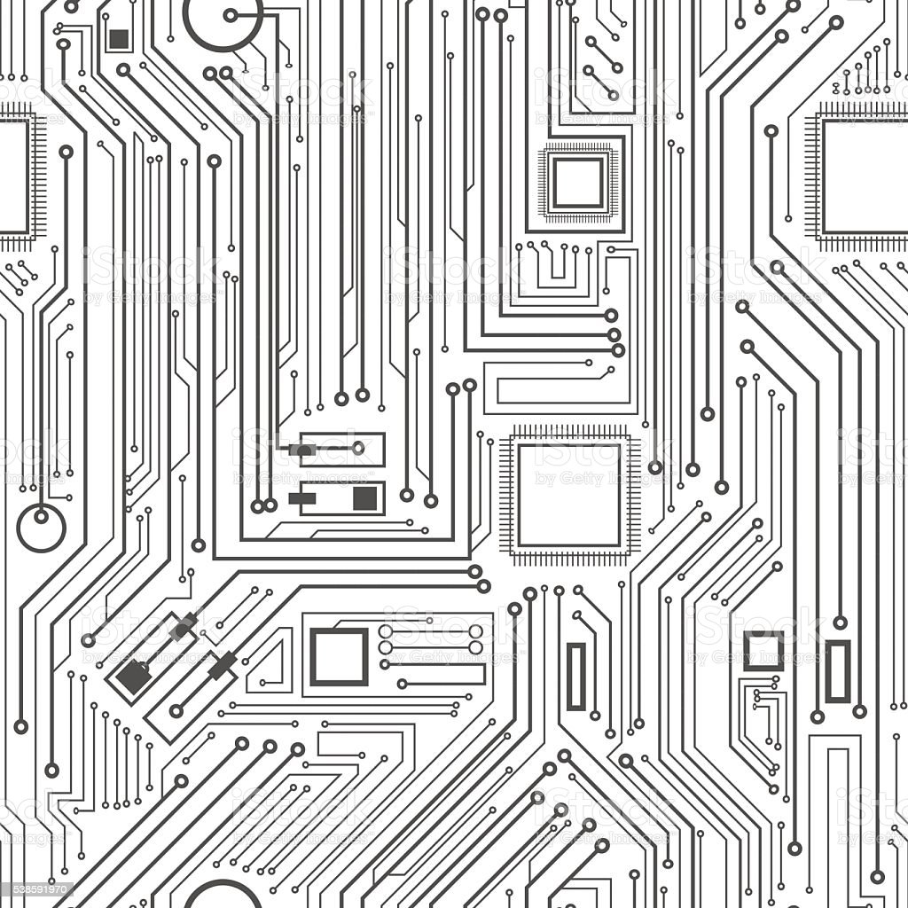 Computer Circuit Board Pattern Stock Vector Art & More Images of ...