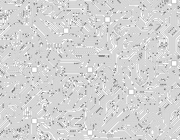 Computer Circuit Board Seamless Black and White Technology Background Computer Circuit Board Seamless Black and White Circuit Board on royalty free vector background. The electric circuit board is black and is set against a white background. Detailed illustration of the circuit board fill up the entire object and forms clean edges. Icon download includes vector graphic and jpg file.Technology Background  pattern stock illustrations