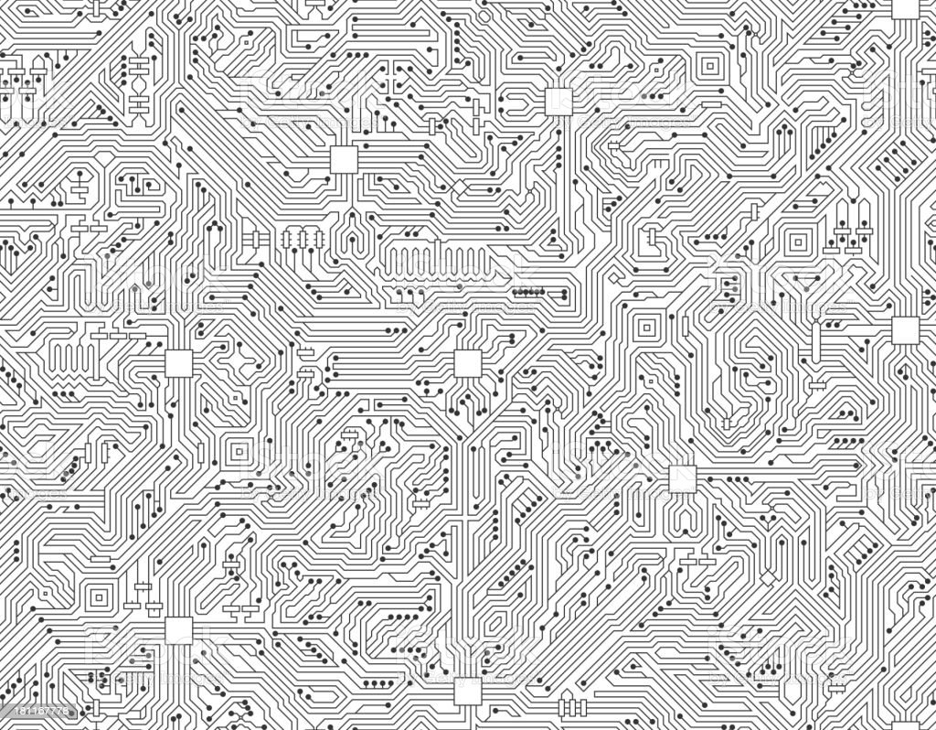 Computer Circuit Board Seamless Black and White Technology Background vector art illustration