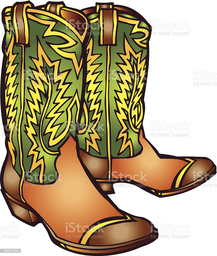 Computer clip art of green patterned cowboy boots vector art illustration