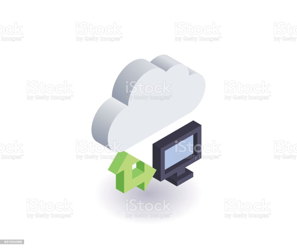 Computer Cloud icon, illustration, vector symbol in flat isometric 3D style isolated on white background. vector art illustration