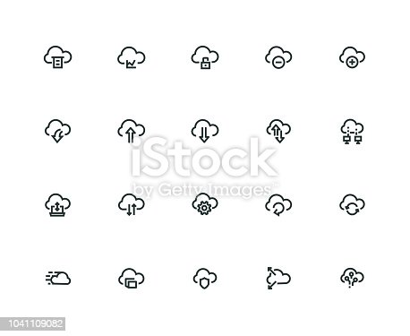 Computer Cloud Icon Set - Thick Line Series