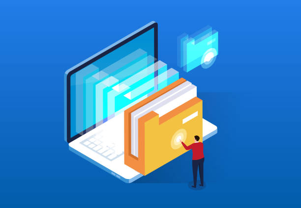 computer cloud intelligent file search and service - magazyn publikacja stock illustrations