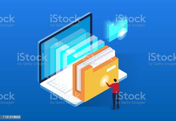 Computer Cloud Intelligent File Search And Service Stock Illustration - Download Image Now