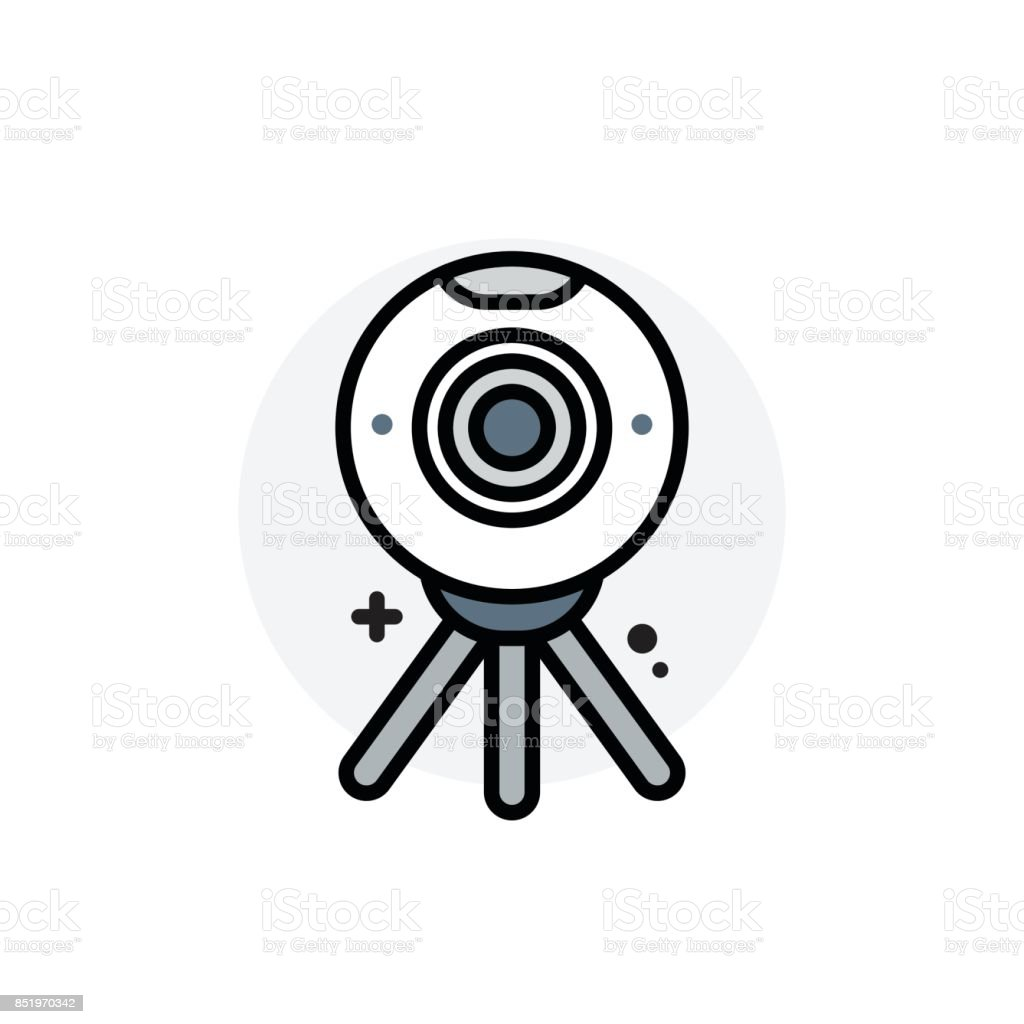Computer component 360 camera concept Isolated Line Vector Illustration editable Icon vector art illustration