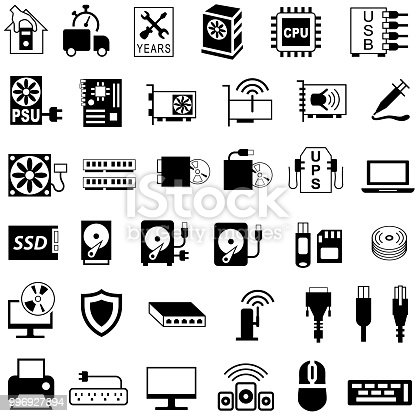 Single colour icon set of computer components and accessories