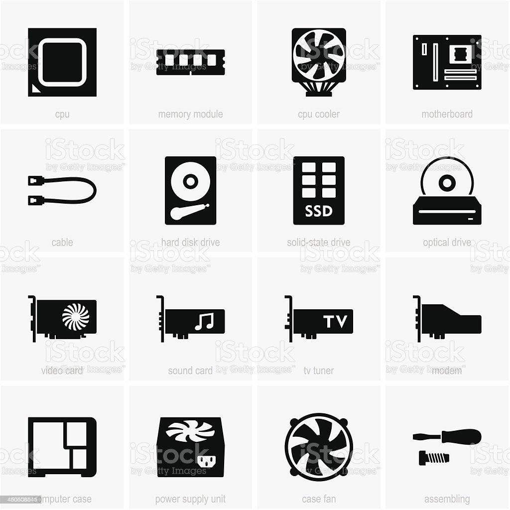 Computer Komponenten Symbole Stock Vektor Art und mehr Bilder von ...