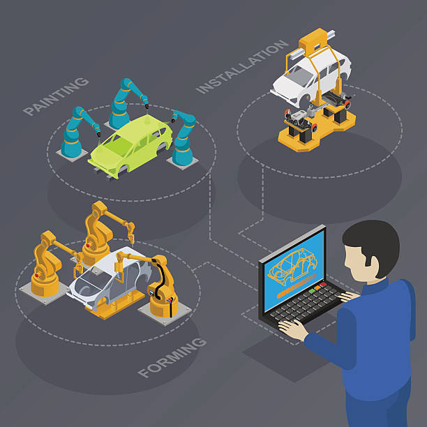 stockillustraties, clipart, cartoons en iconen met computer control in production - robot engineer