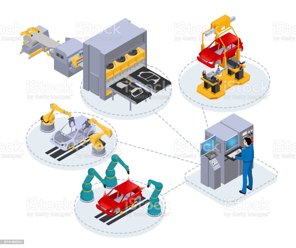 computer control in production2 vector art illustration