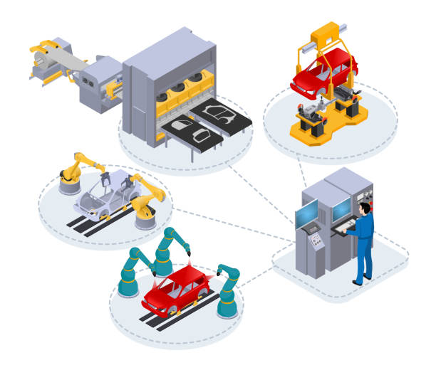 computer control in production2 automated production line under the control of a computer to assemble cars, isometric image on white background manufacturing stock illustrations