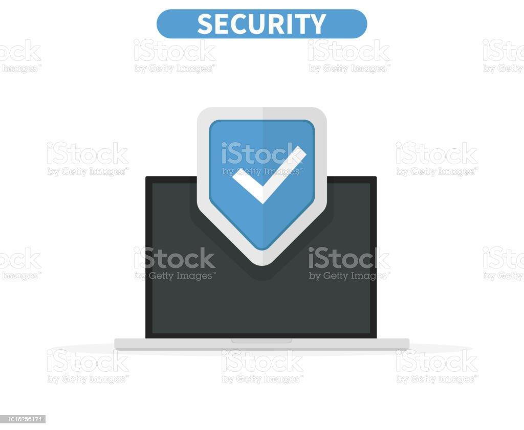 Computer data security Access concept. Laptop protect sensitive data. Internet security. Flat design, vector illustration on background. vector art illustration