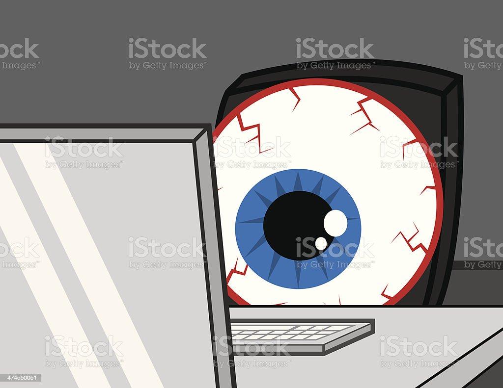 Computer Desk Eye Bloodshot vector art illustration
