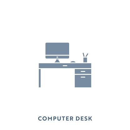 Computer Desk Mono Color Flat Icon. Pixel Perfect.