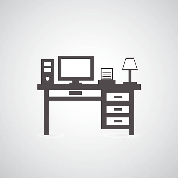 computer schreibtisch - schultischrenovierung stock-grafiken, -clipart, -cartoons und -symbole