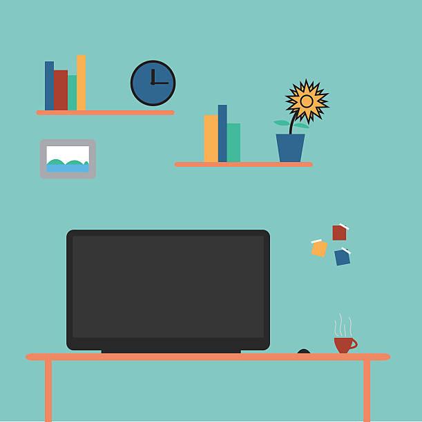 computer desk1 - schultischrenovierung stock-grafiken, -clipart, -cartoons und -symbole