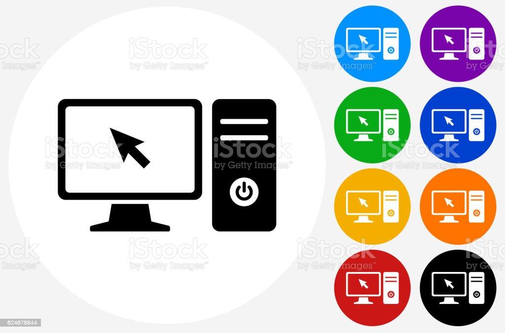Computer Desktop Icon On Flat Color Circle Buttons Stock Vector Art