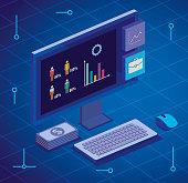 istock computer desktop with statistics and menu app 1197358274