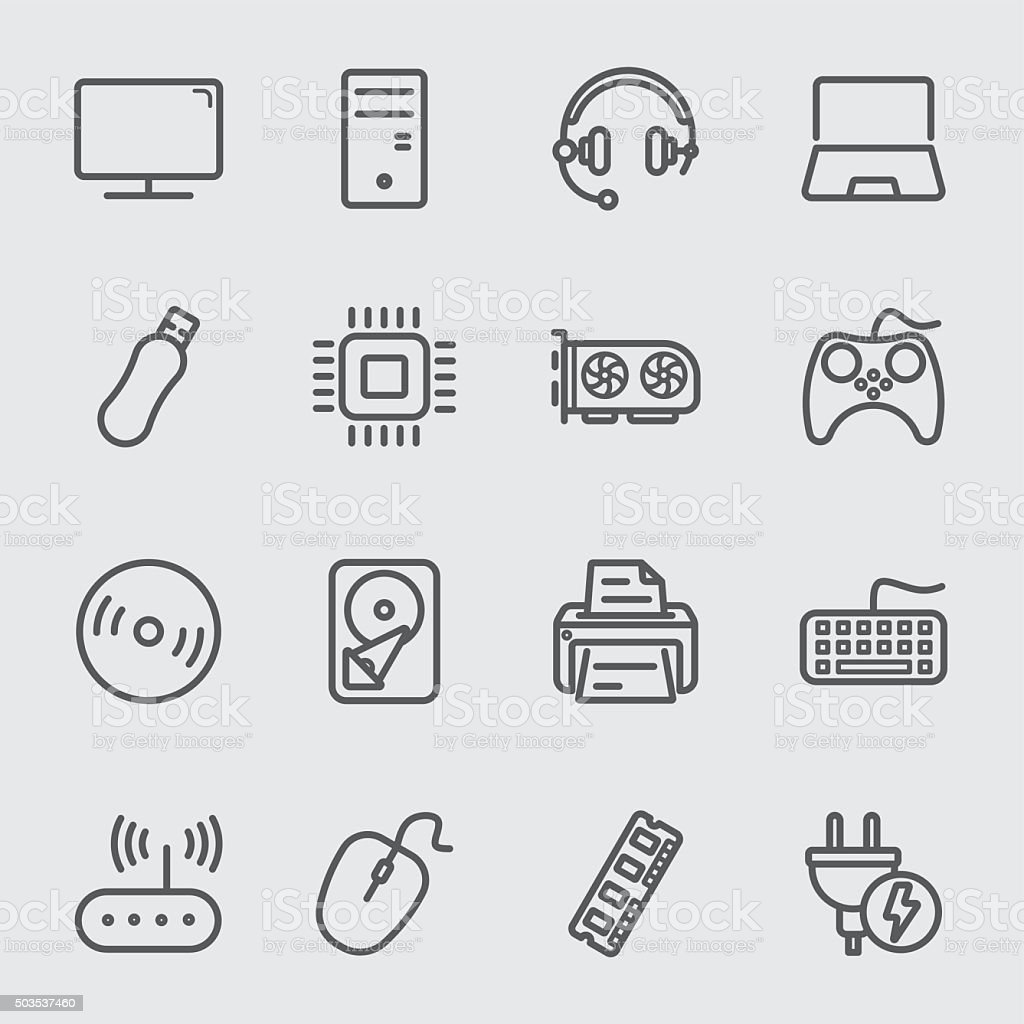 Computer devices line icon vector art illustration