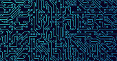 Circuits circuit board blue background.