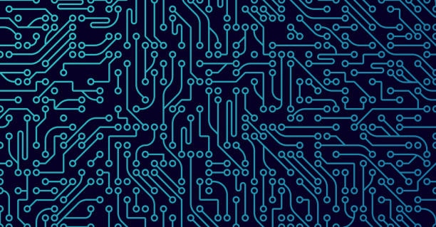 Computer Digital Background Circuits circuit board blue background. circuit board stock illustrations
