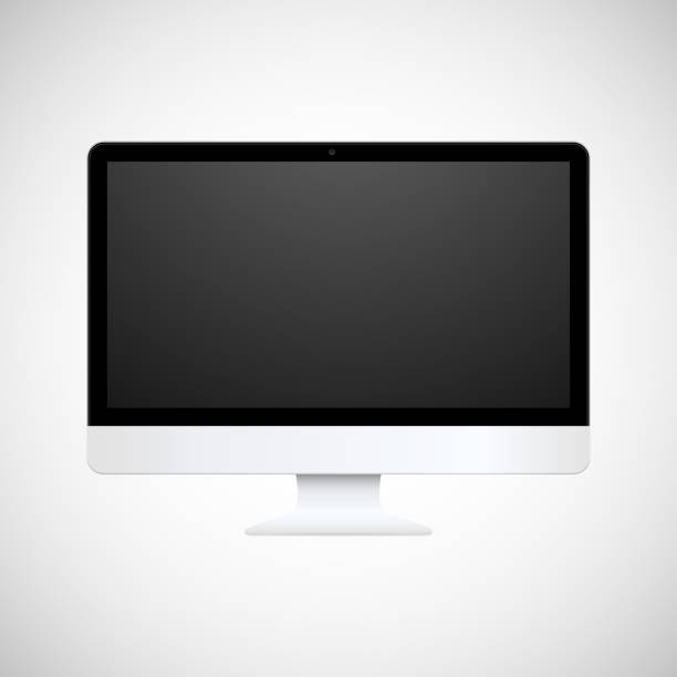 Computer display Vector computer display isolated on white flat physical description stock illustrations