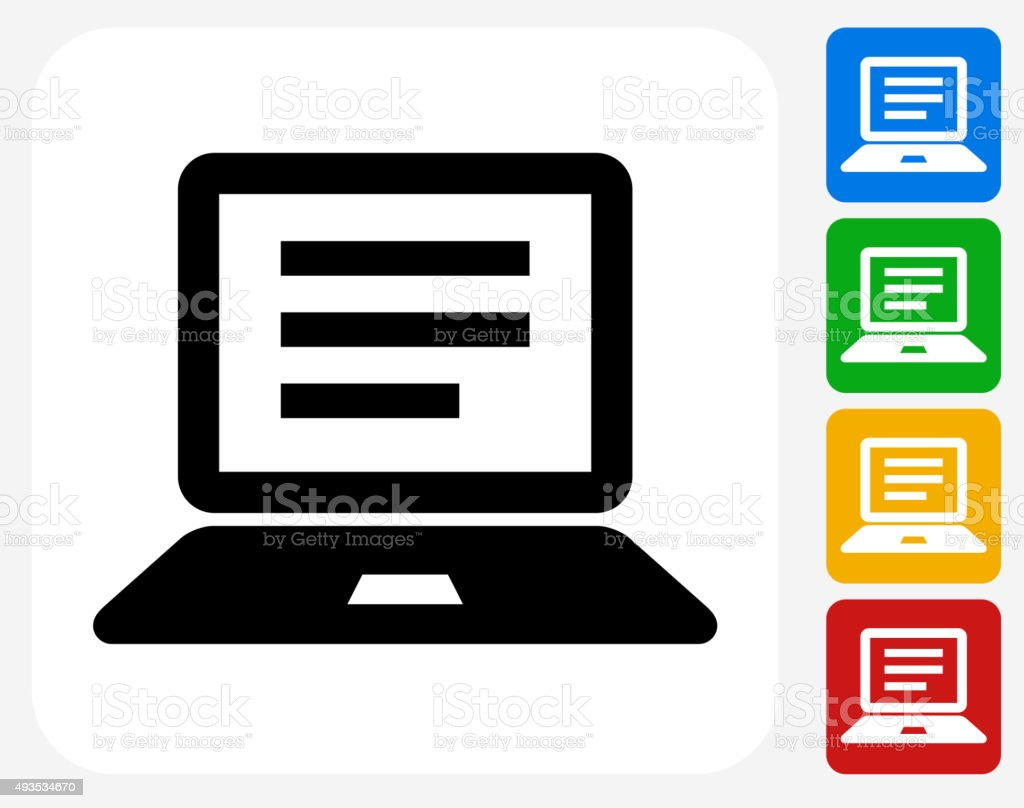 Computer Document Icon Flat Graphic Design vector art illustration