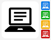 Computer Document Icon Flat Graphic Design