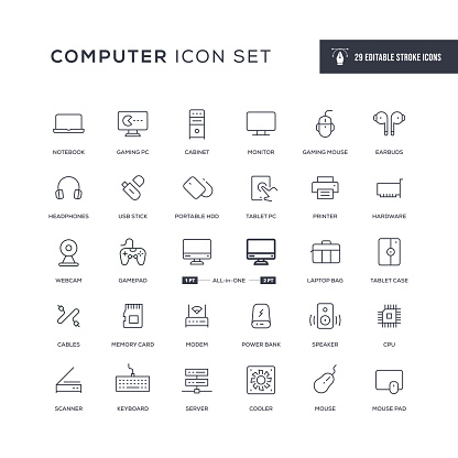 Computer Editable Stroke Line Icons