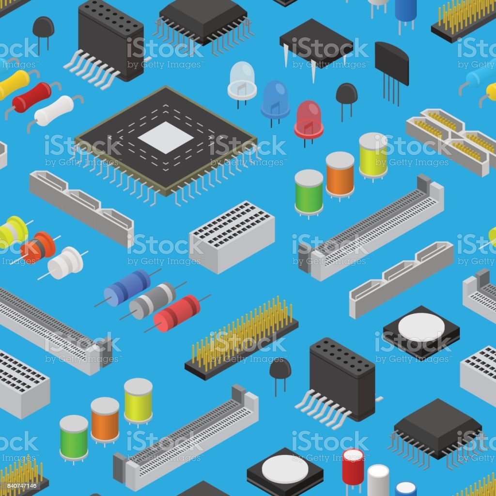 Computer Electronic Circuit Board Component Background Pattern On A ...