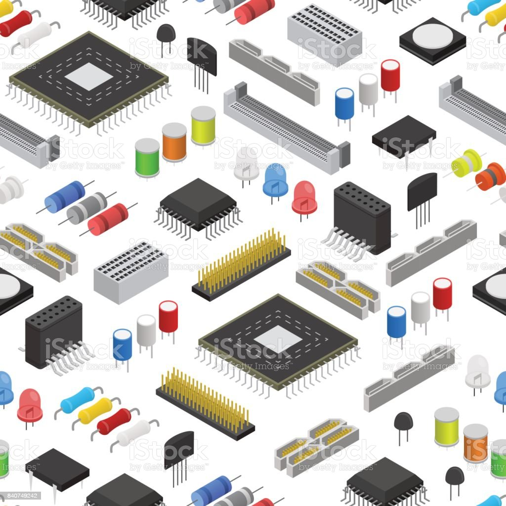 Computer Electronic Circuit Board Component Background Pattern On A With Electronics Components Royalty Free Stock White Isometric View Vector
