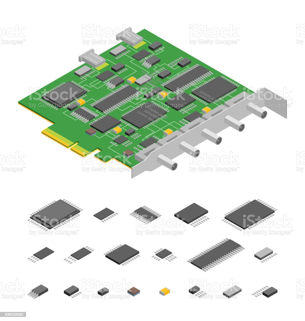 Computer Electronic Circuit Board Component Pc And Elements Part Abstract Background With Old Isometric View Vector Royalty Free