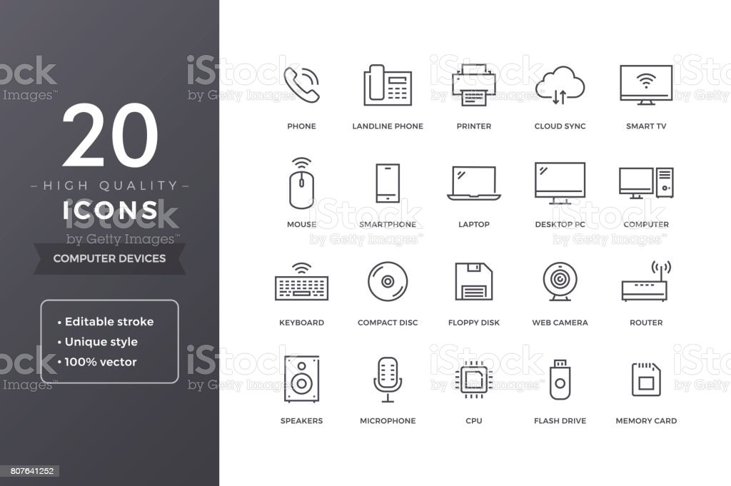Computer Electronics Line Icons vector art illustration